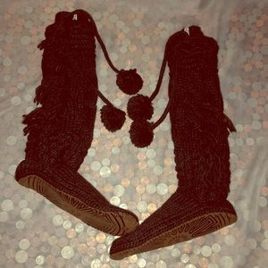 UGG Gray Crochet Knee High Slipper Socks 7/8